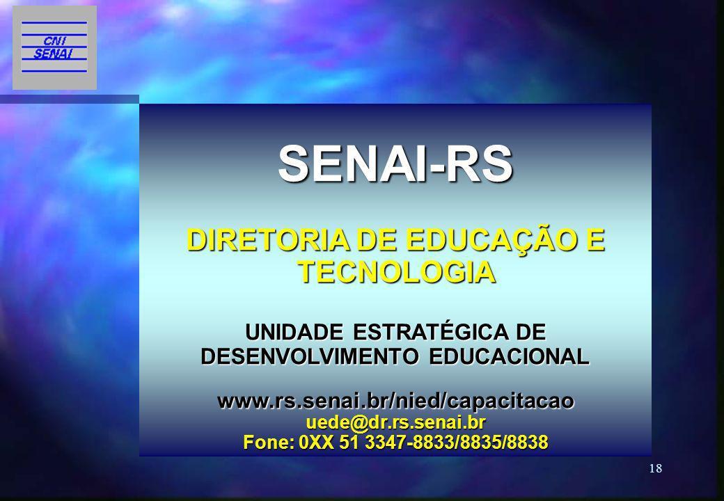 SENAI-RS DIRETORIA DE EDUCAÇÃO E TECNOLOGIA UNIDADE ESTRATÉGICA DE DESENVOLVIMENTO EDUCACIONAL www.rs.senai.br/nied/capacitacao uede@dr.rs.senai.br Fone: 0XX 51 3347-8833/8835/8838