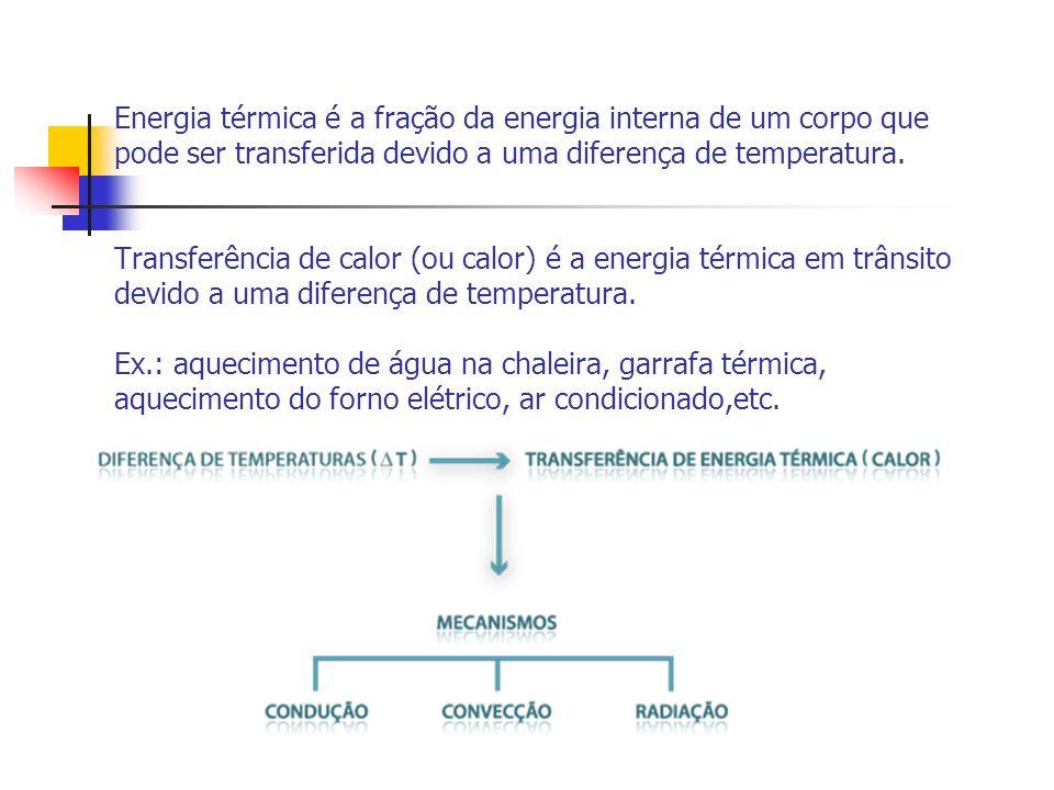 Energia térmica é a fração da energia interna de um corpo que pode ser transferida devido a uma diferença de temperatura.