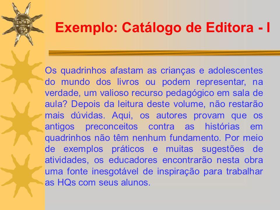 Exemplo: Catálogo de Editora - I