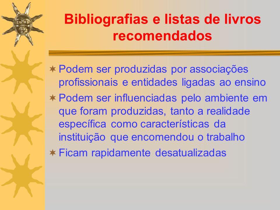 Bibliografias e listas de livros recomendados
