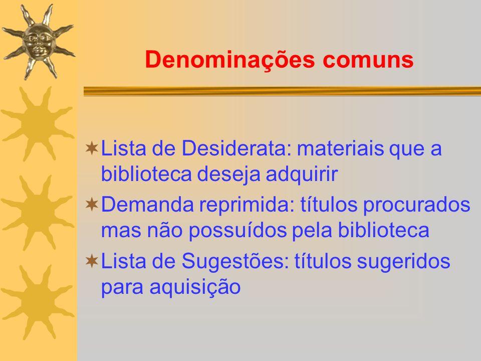 Denominações comuns Lista de Desiderata: materiais que a biblioteca deseja adquirir.