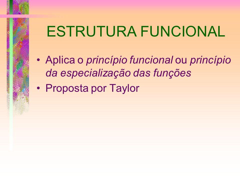 ESTRUTURA FUNCIONAL Aplica o princípio funcional ou princípio da especialização das funções.