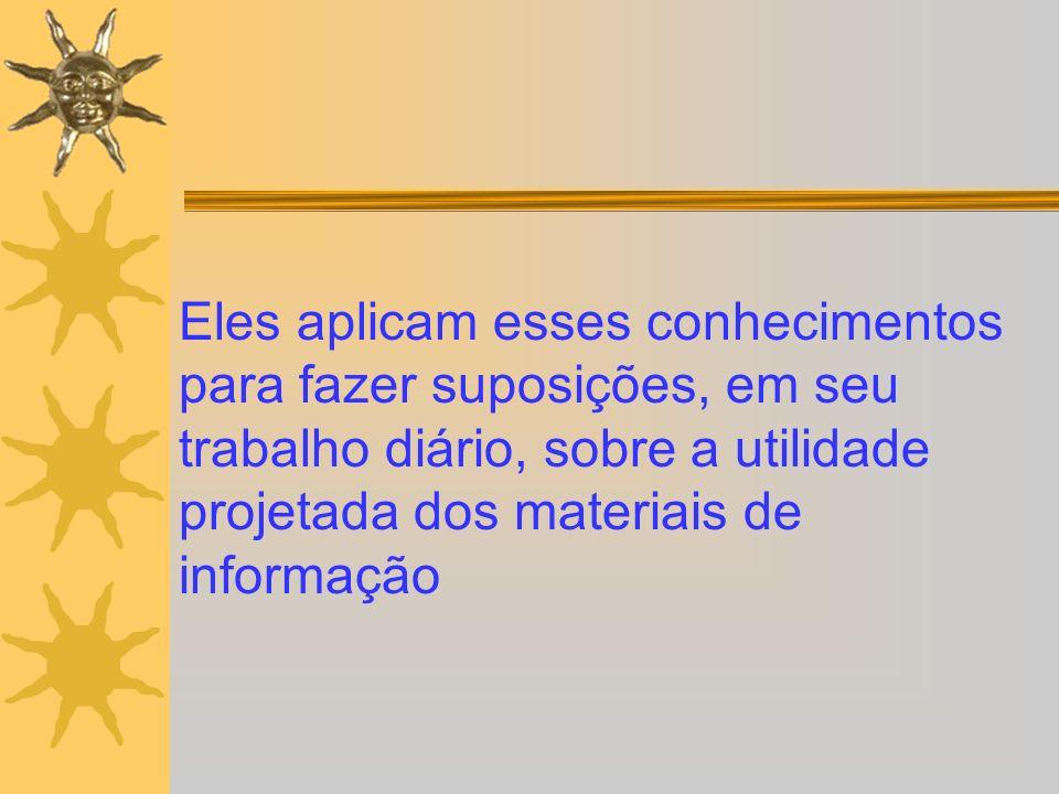 Eles aplicam esses conhecimentos para fazer suposições, em seu trabalho diário, sobre a utilidade projetada dos materiais de informação