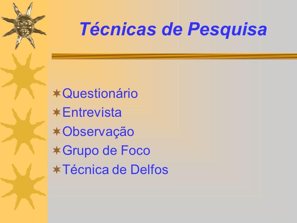 Técnicas de Pesquisa Questionário Entrevista Observação Grupo de Foco