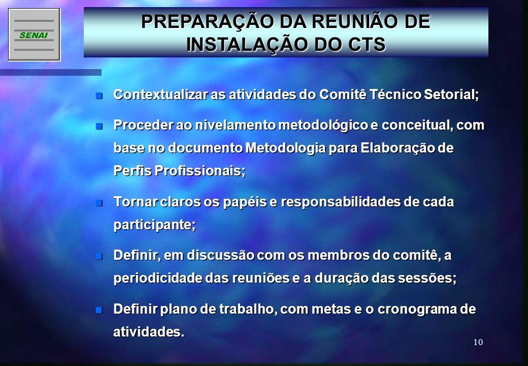 PREPARAÇÃO DA REUNIÃO DE INSTALAÇÃO DO CTS