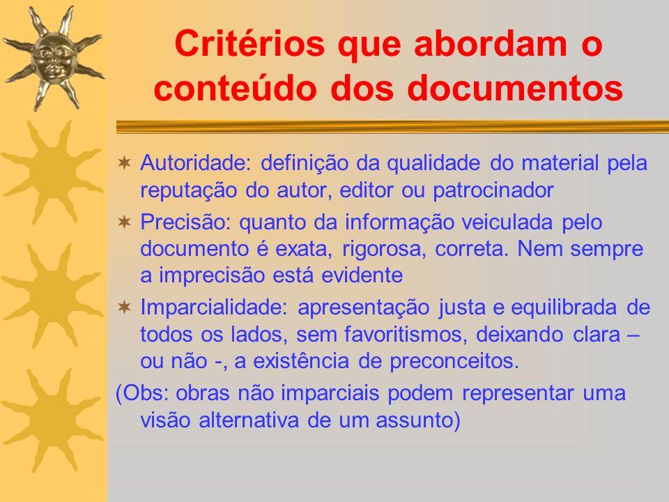Critérios que abordam o conteúdo dos documentos