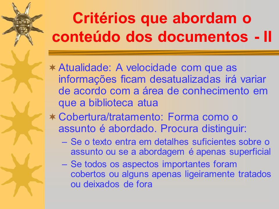 Critérios que abordam o conteúdo dos documentos - II