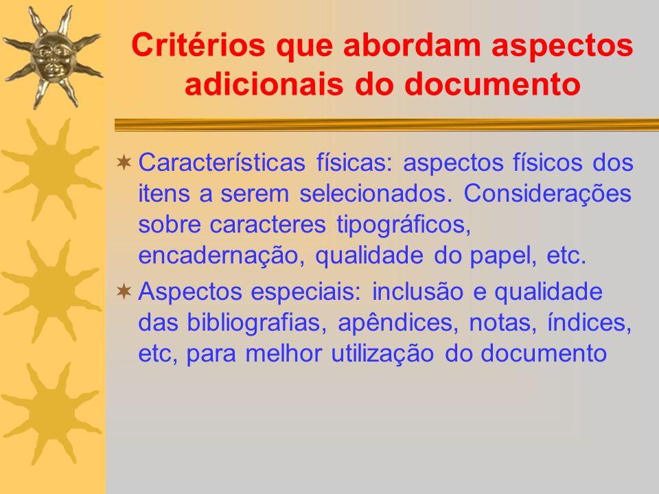 Critérios que abordam aspectos adicionais do documento