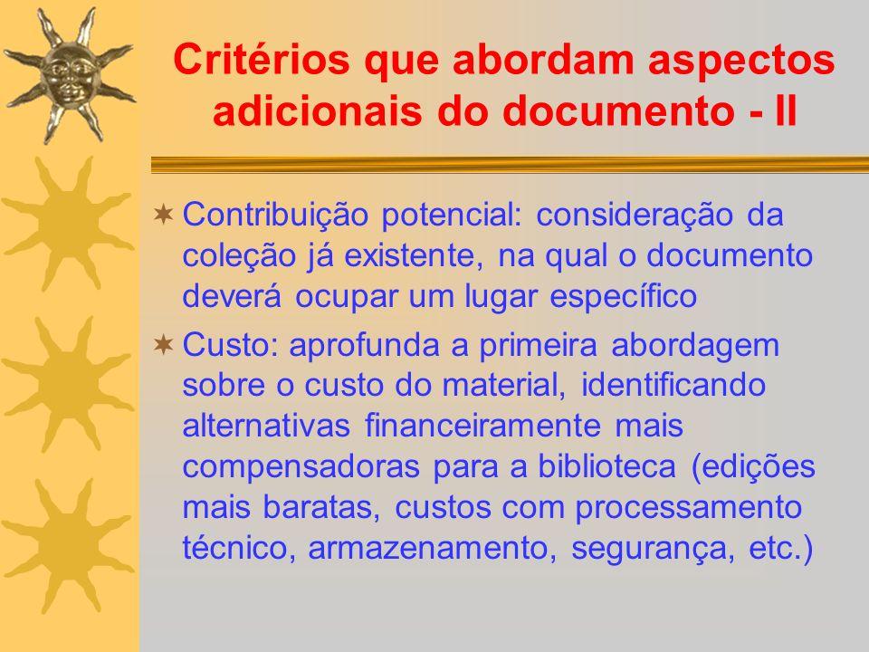 Critérios que abordam aspectos adicionais do documento - II