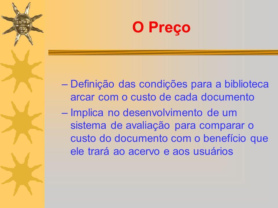 O Preço Definição das condições para a biblioteca arcar com o custo de cada documento.