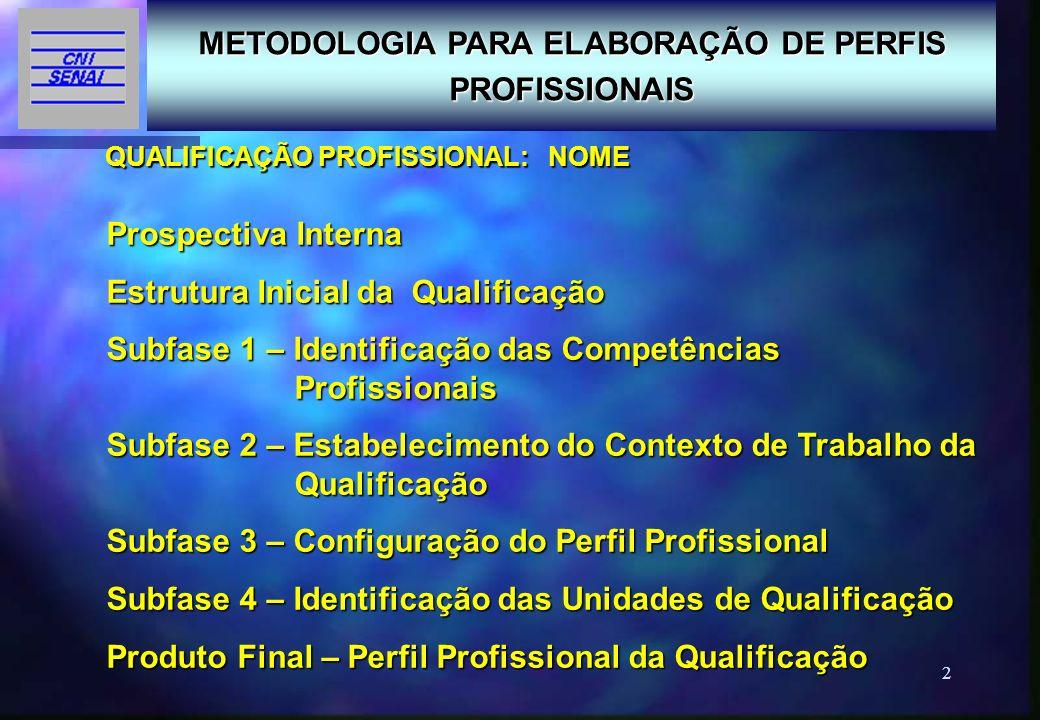 METODOLOGIA PARA ELABORAÇÃO DE PERFIS PROFISSIONAIS