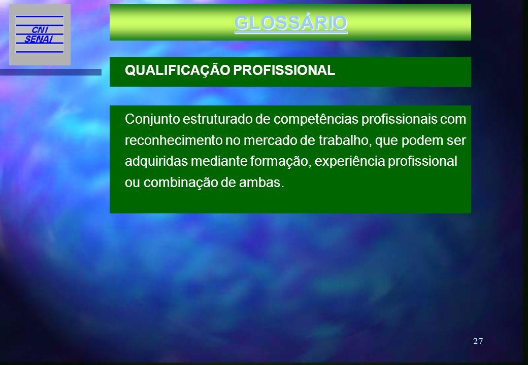 GLOSSÁRIO QUALIFICAÇÃO PROFISSIONAL