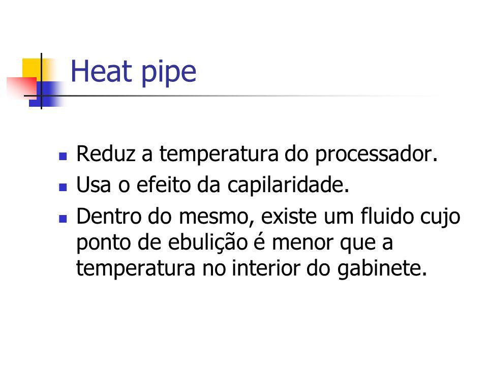 Heat pipe Reduz a temperatura do processador.