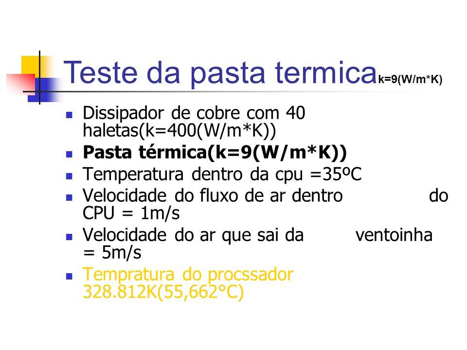 Teste da pasta termicak=9(W/m*K)