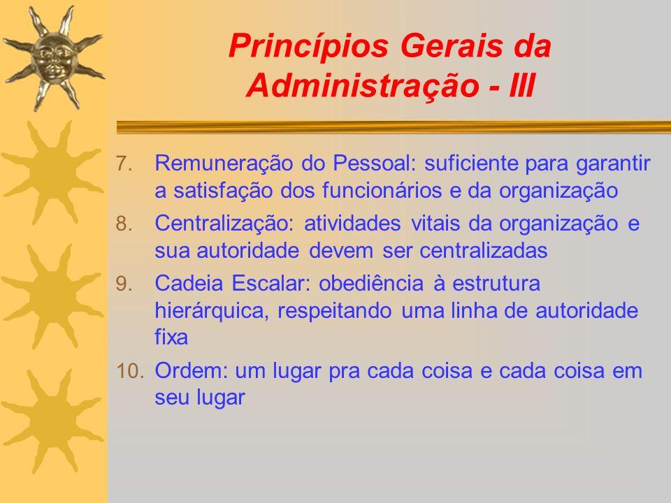 Princípios Gerais da Administração - III
