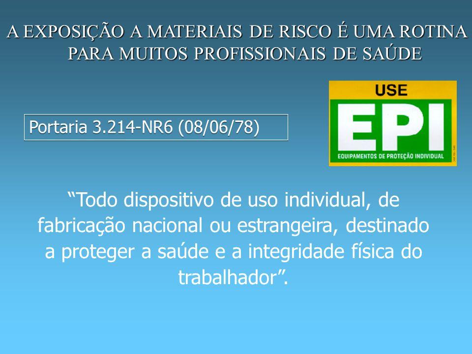 A EXPOSIÇÃO A MATERIAIS DE RISCO É UMA ROTINA PARA MUITOS PROFISSIONAIS DE SAÚDE