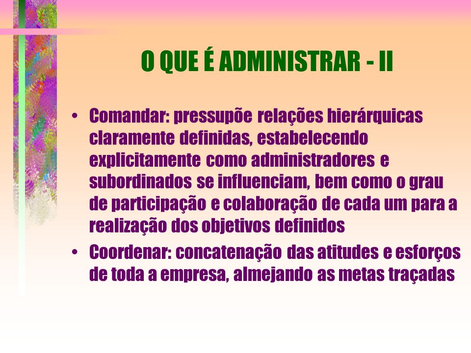 O QUE É ADMINISTRAR - II