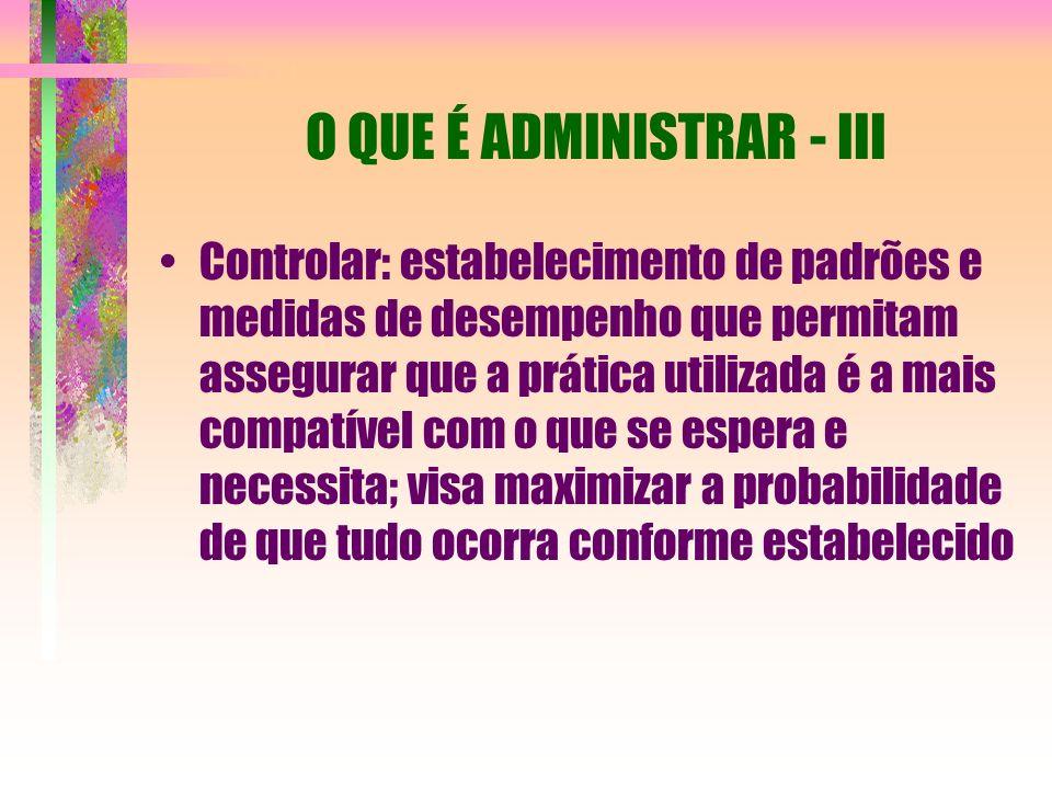 O QUE É ADMINISTRAR - III