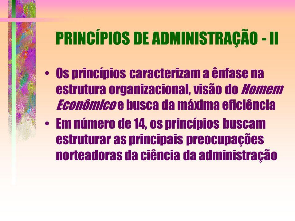 PRINCÍPIOS DE ADMINISTRAÇÃO - II