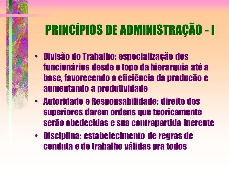 PRINCÍPIOS DE ADMINISTRAÇÃO - I