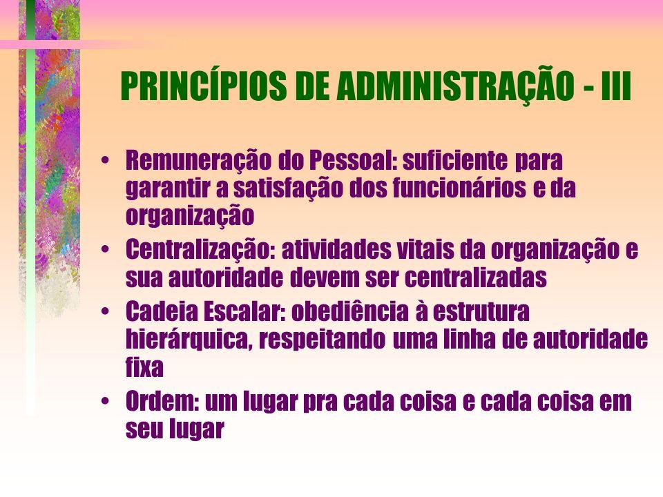 PRINCÍPIOS DE ADMINISTRAÇÃO - III