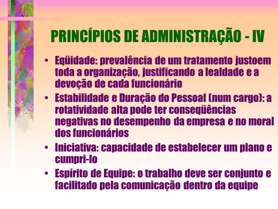 PRINCÍPIOS DE ADMINISTRAÇÃO - IV