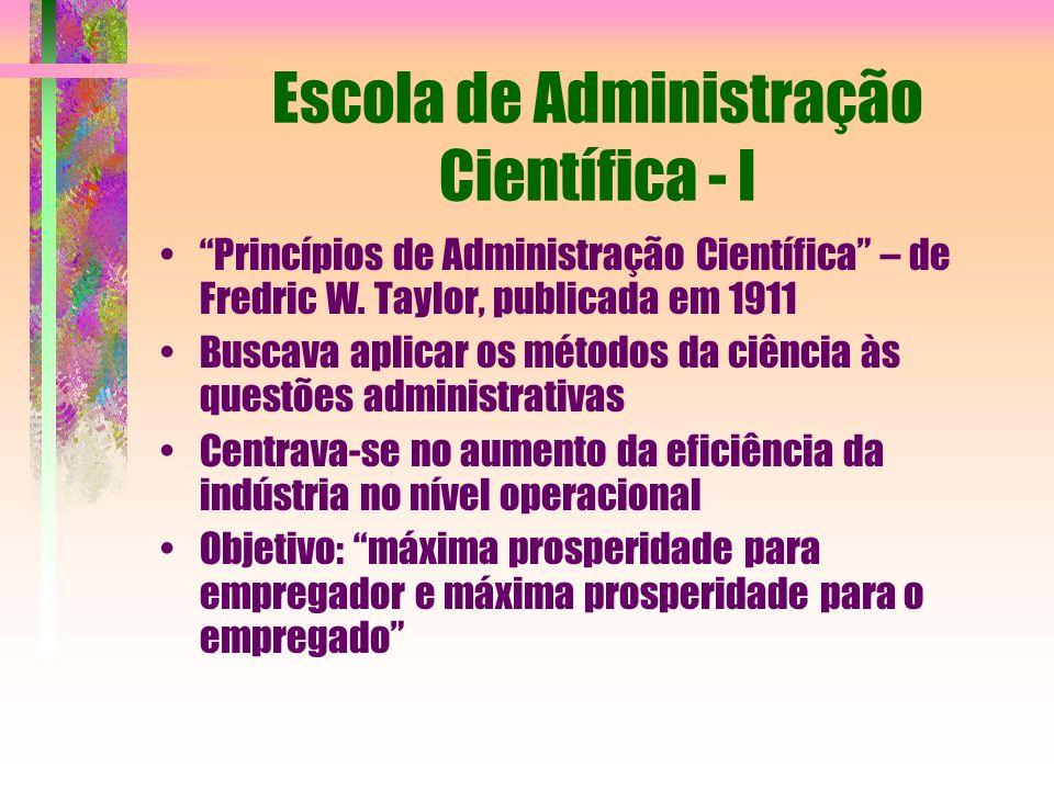 Escola de Administração Científica - I
