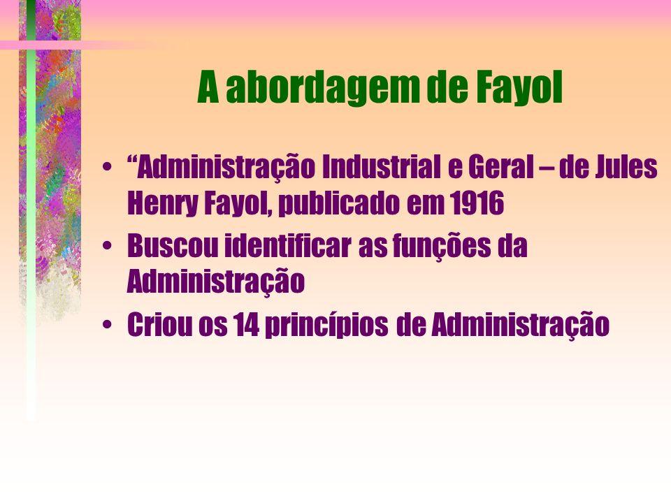 A abordagem de Fayol Administração Industrial e Geral – de Jules Henry Fayol, publicado em 1916. Buscou identificar as funções da Administração.