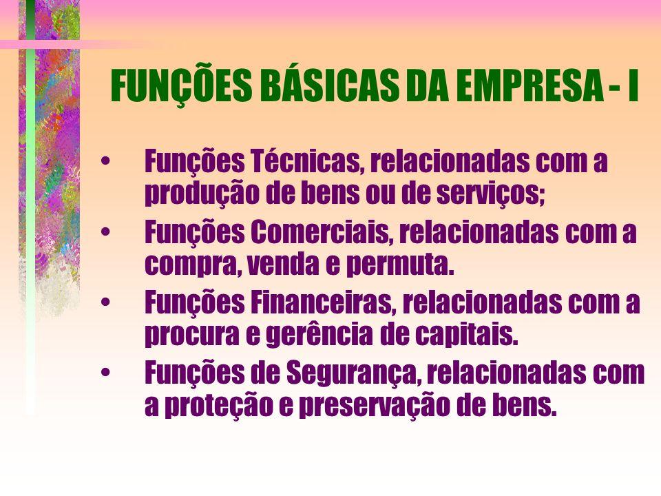 FUNÇÕES BÁSICAS DA EMPRESA - I