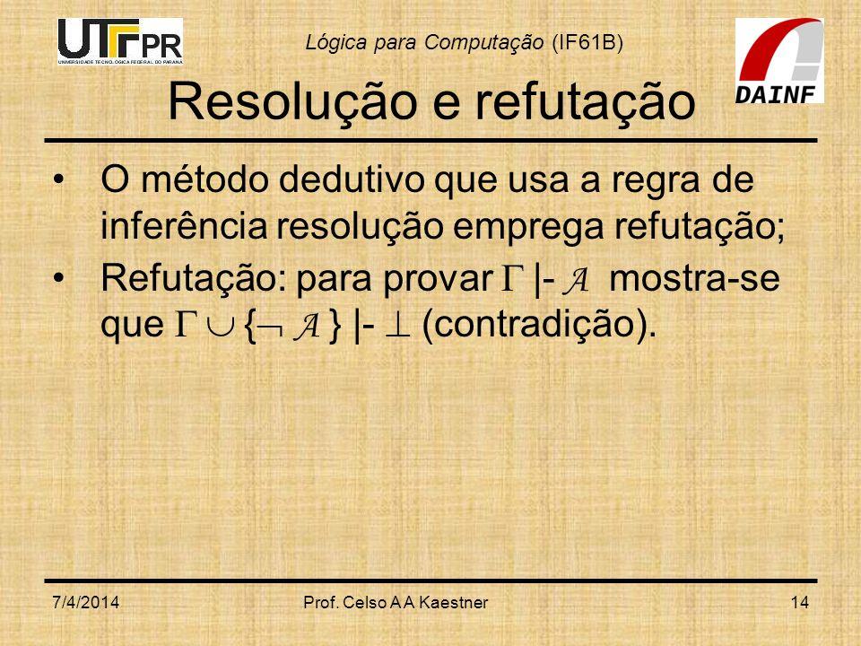 Resolução e refutação O método dedutivo que usa a regra de inferência resolução emprega refutação;
