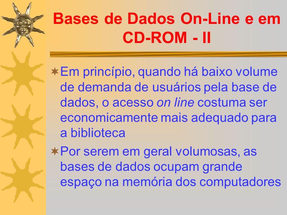 Bases de Dados On-Line e em CD-ROM - II