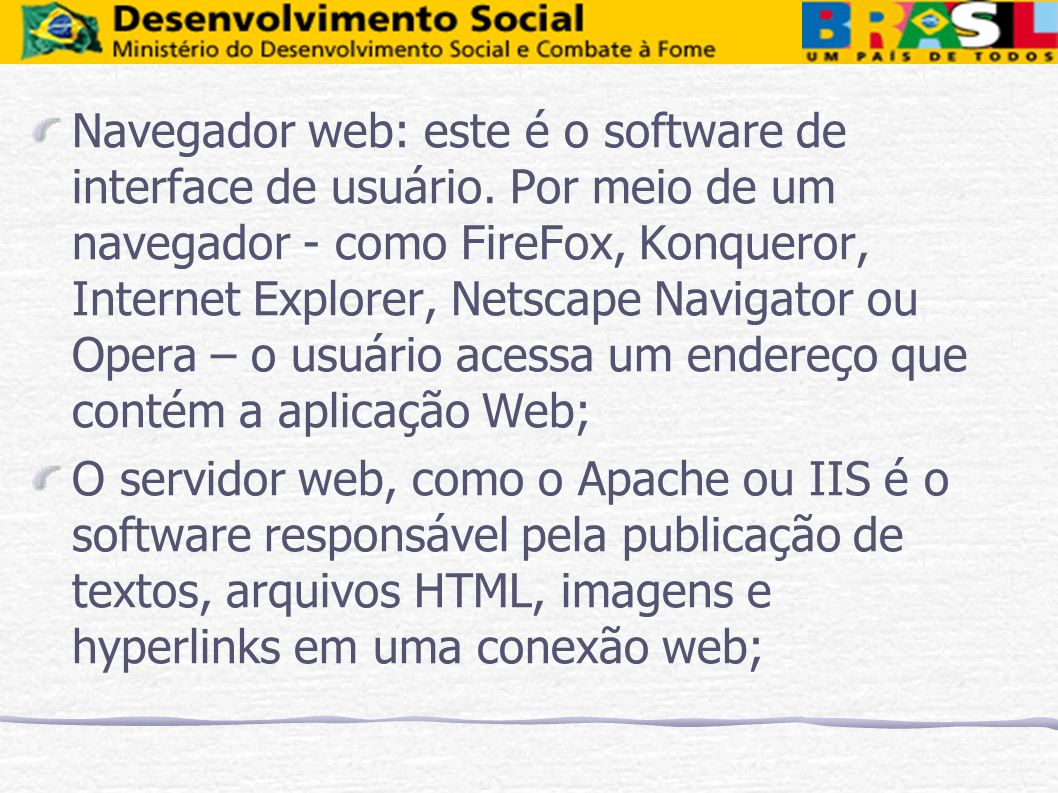 Navegador web: este é o software de interface de usuário