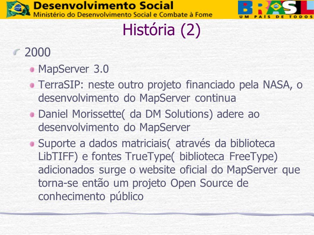 História (2)2000. MapServer 3.0. TerraSIP: neste outro projeto financiado pela NASA, o desenvolvimento do MapServer continua.