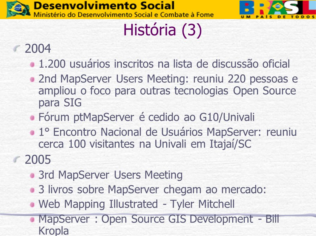 História (3)2004. 1.200 usuários inscritos na lista de discussão oficial.