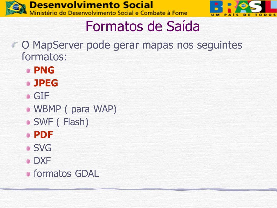 Formatos de Saída O MapServer pode gerar mapas nos seguintes formatos: