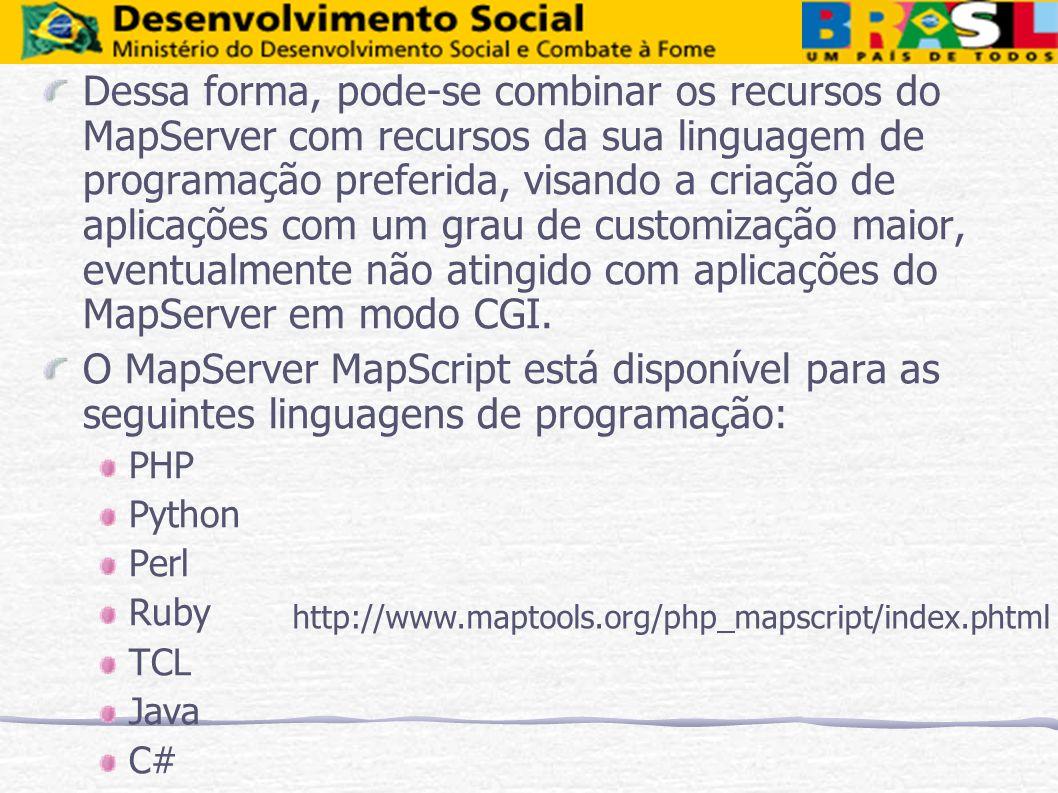 Dessa forma, pode-se combinar os recursos do MapServer com recursos da sua linguagem de programação preferida, visando a criação de aplicações com um grau de customização maior, eventualmente não atingido com aplicações do MapServer em modo CGI.