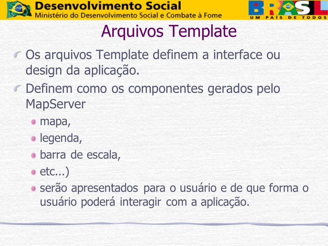 Arquivos Template Os arquivos Template definem a interface ou design da aplicação. Definem como os componentes gerados pelo MapServer.