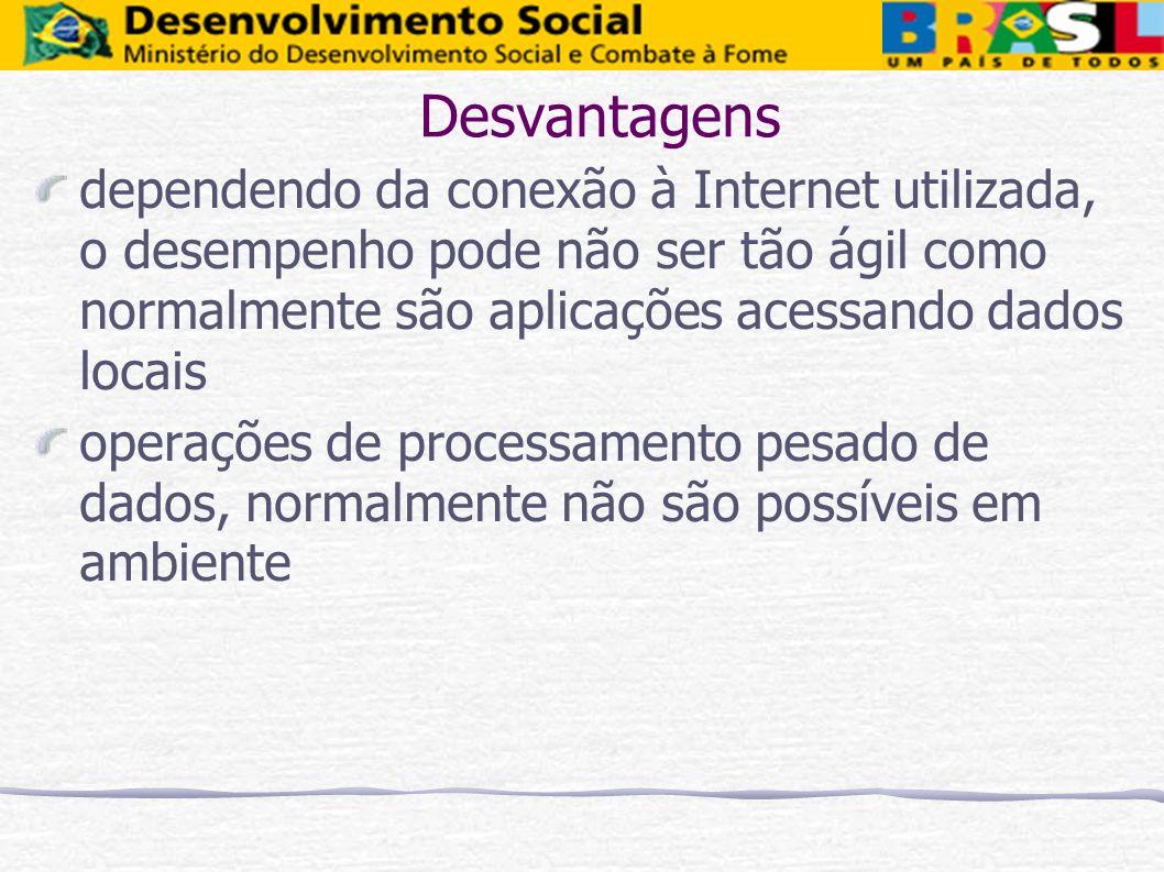 Desvantagens dependendo da conexão à Internet utilizada, o desempenho pode não ser tão ágil como normalmente são aplicações acessando dados locais.