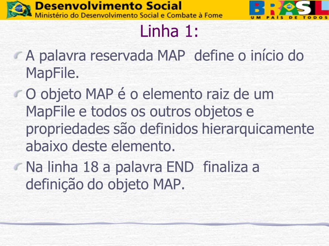 Linha 1: A palavra reservada MAP define o início do MapFile.