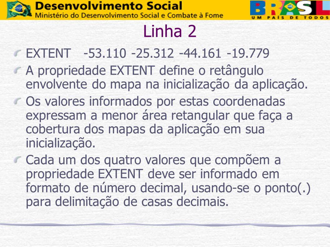 Linha 2 EXTENT -53.110 -25.312 -44.161 -19.779. A propriedade EXTENT define o retângulo envolvente do mapa na inicialização da aplicação.