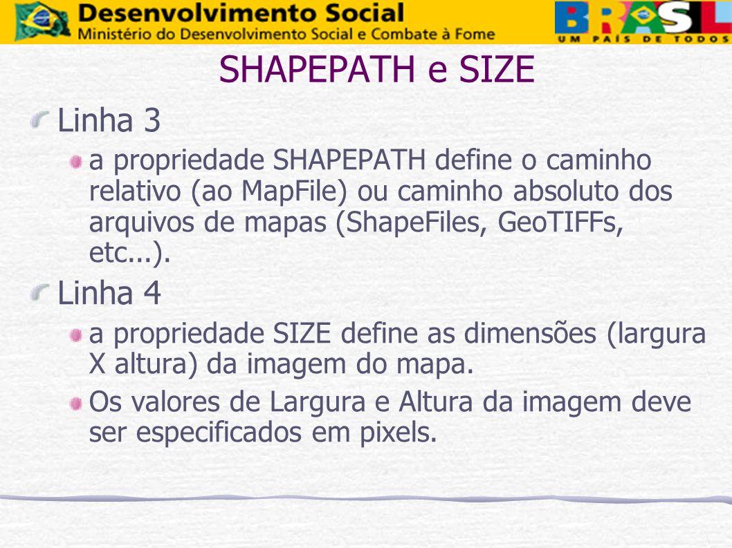 SHAPEPATH e SIZE Linha 3 Linha 4