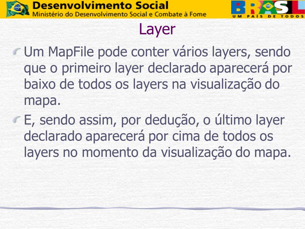 Layer Um MapFile pode conter vários layers, sendo que o primeiro layer declarado aparecerá por baixo de todos os layers na visualização do mapa.