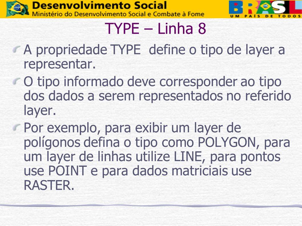 TYPE – Linha 8 A propriedade TYPE define o tipo de layer a representar.