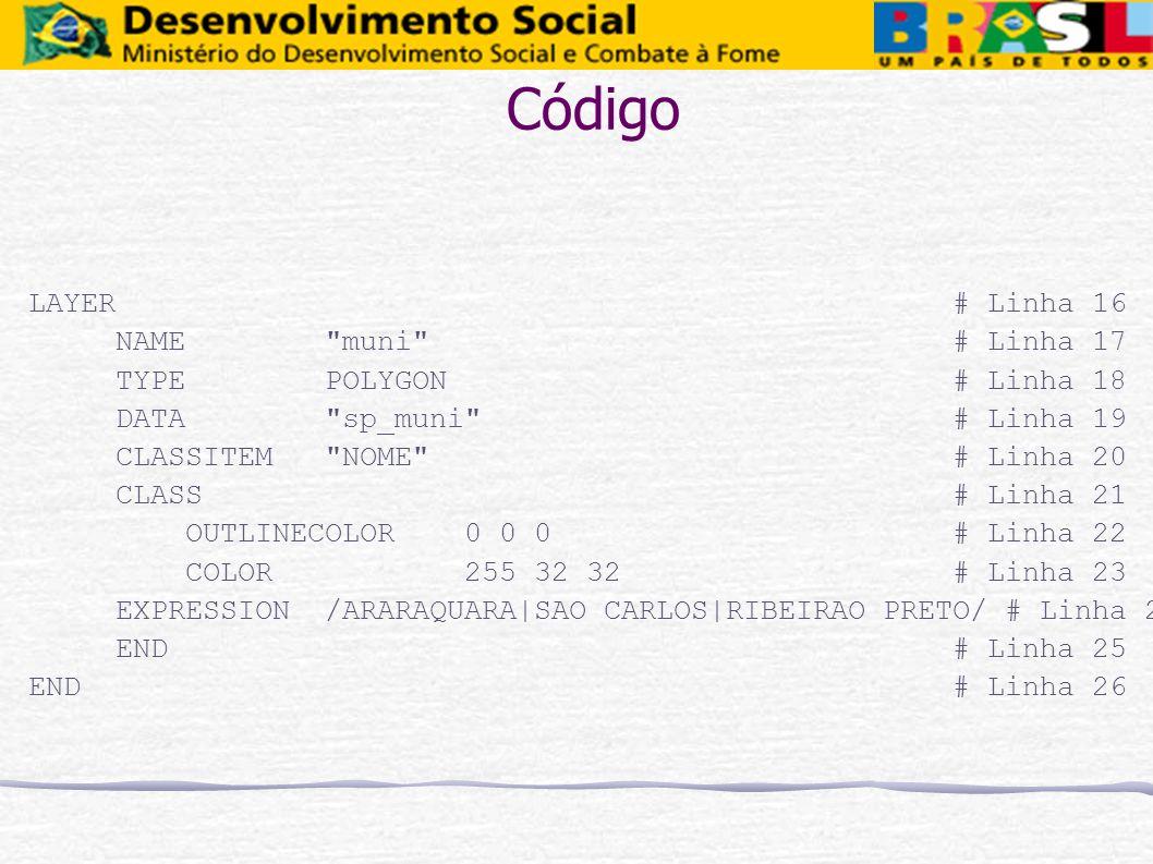 Código LAYER # Linha 16 NAME muni # Linha 17 TYPE POLYGON # Linha 18
