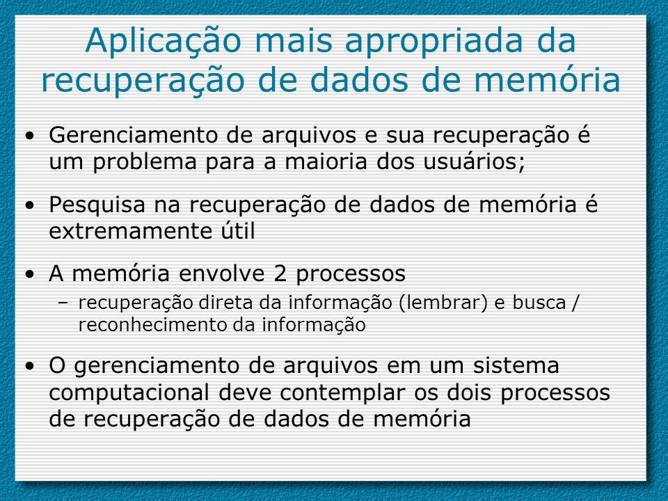 Aplicação mais apropriada da recuperação de dados de memória