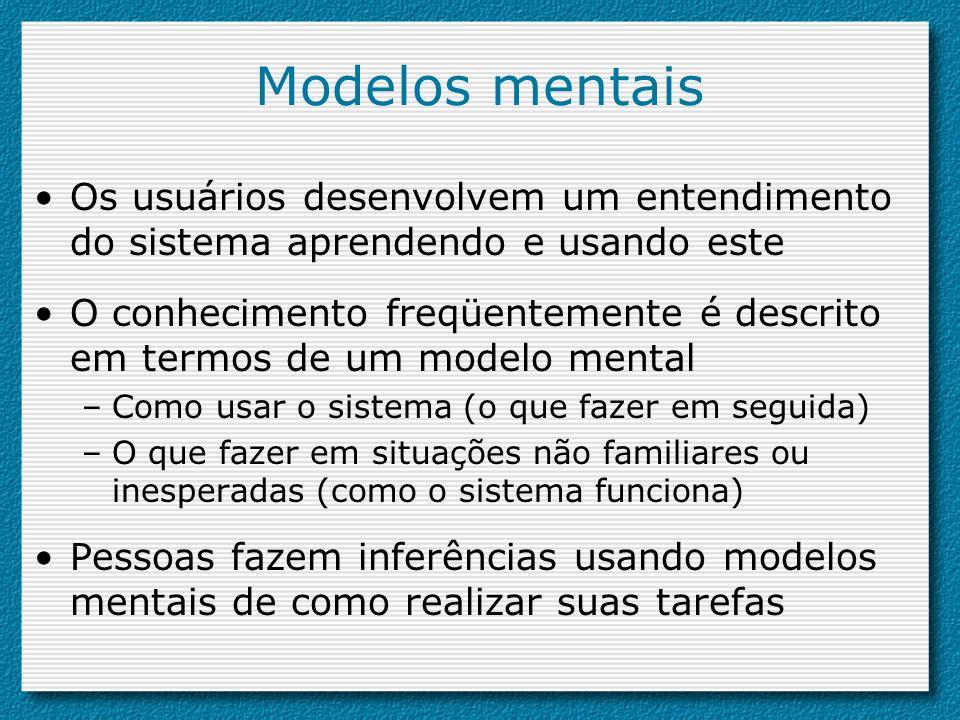 Modelos mentais Os usuários desenvolvem um entendimento do sistema aprendendo e usando este.