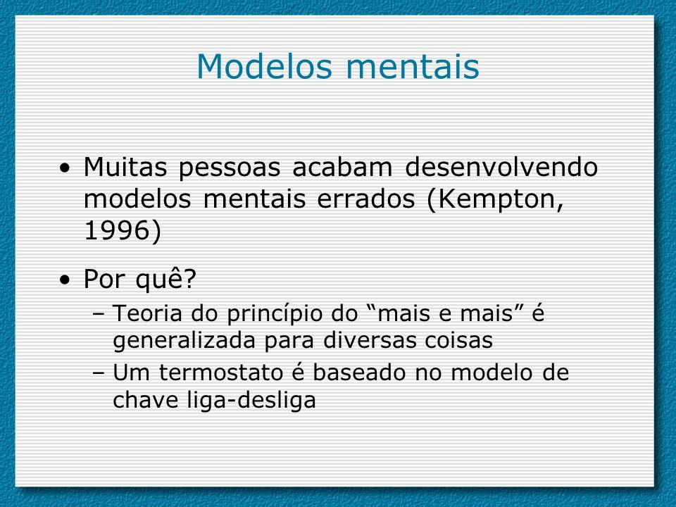 Modelos mentais Muitas pessoas acabam desenvolvendo modelos mentais errados (Kempton, 1996) Por quê