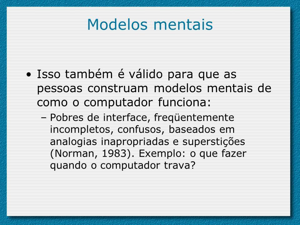 Modelos mentais Isso também é válido para que as pessoas construam modelos mentais de como o computador funciona:
