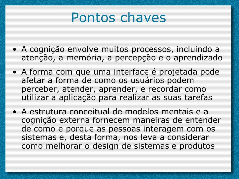 Pontos chaves A cognição envolve muitos processos, incluindo a atenção, a memória, a percepção e o aprendizado.