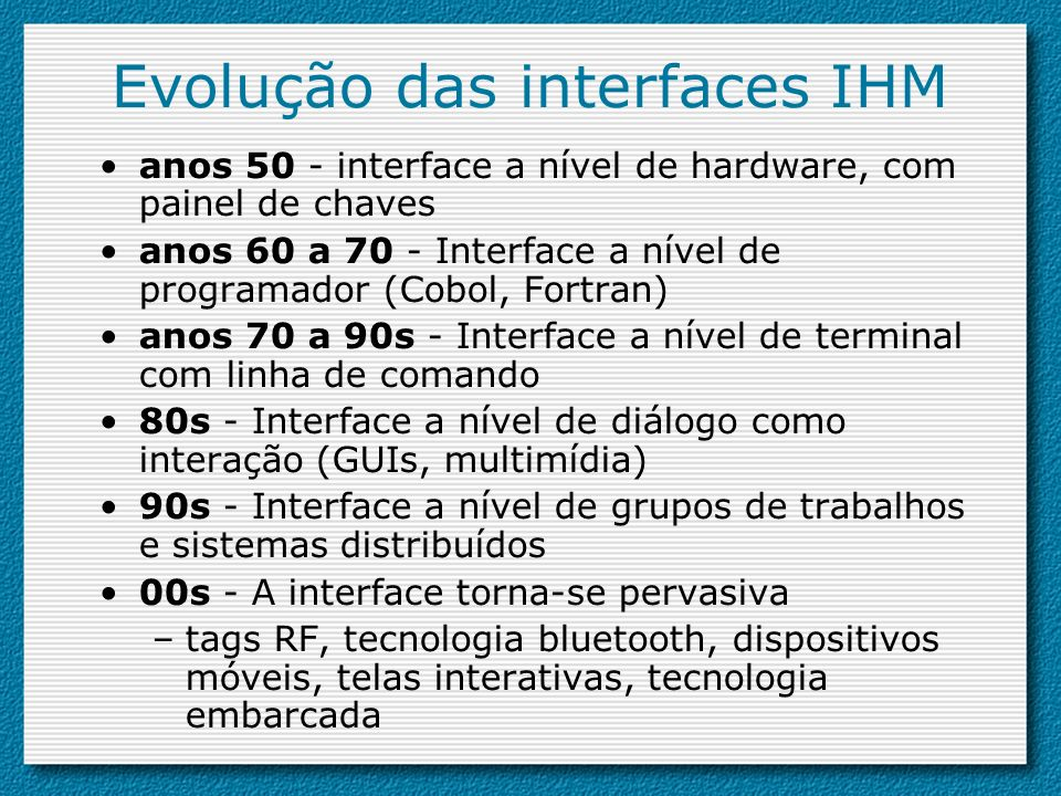 Evolução das interfaces IHM